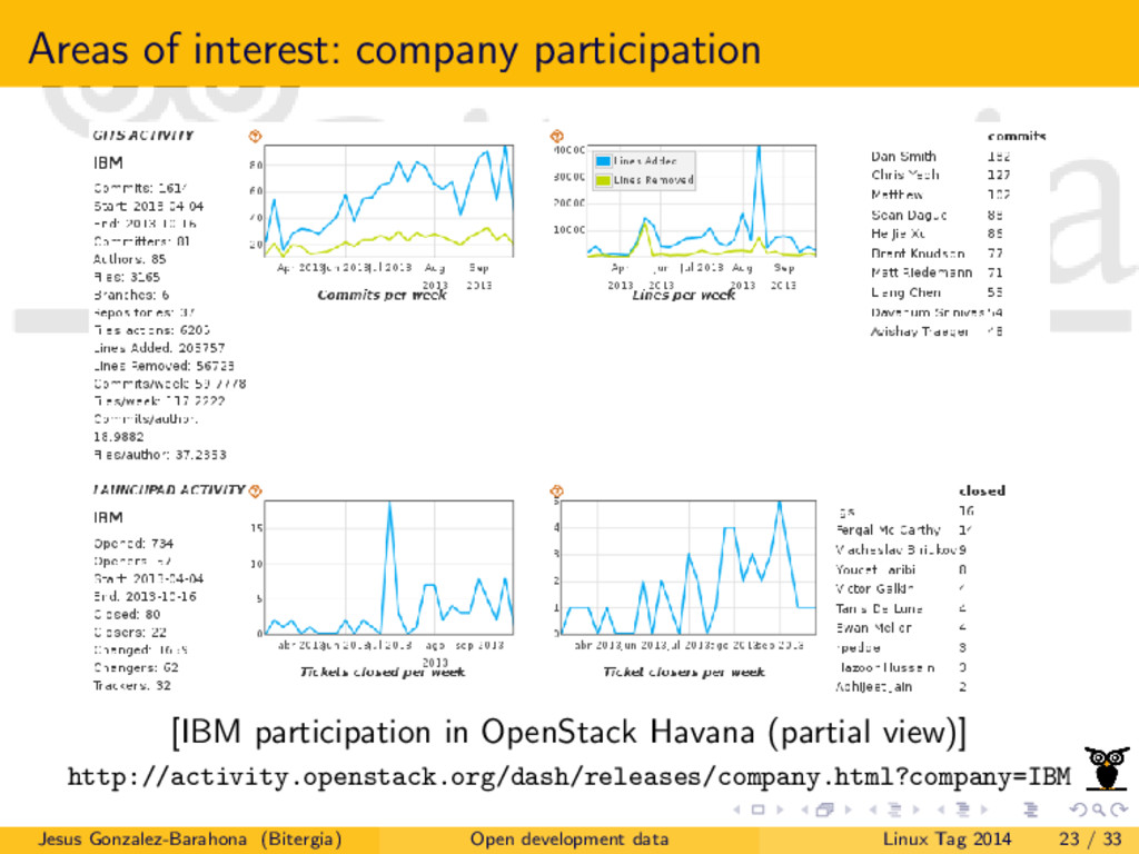 Areas of interest: company participation [IBM p...