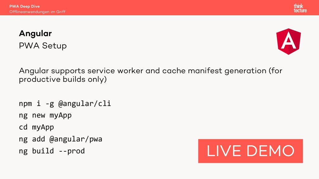 PWA Setup Angular supports service worker and c...