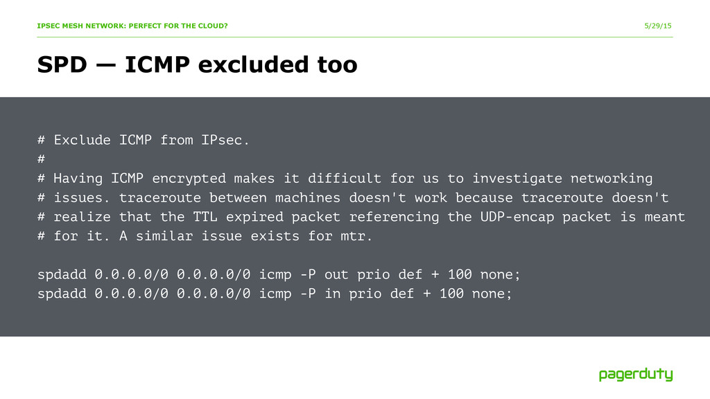 5/29/15 # Exclude ICMP from IPsec. # # Having I...