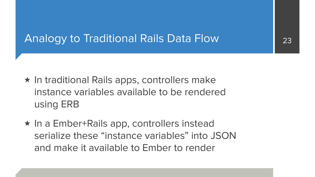 Analogy to Traditional Rails Data Flow ★ In tra...