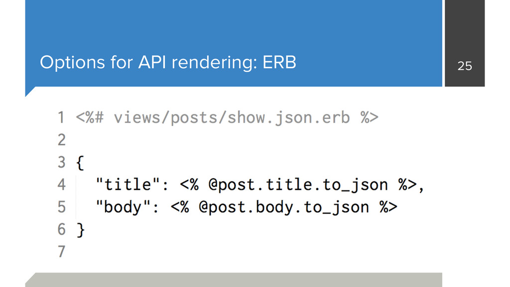 Options for API rendering: ERB 25
