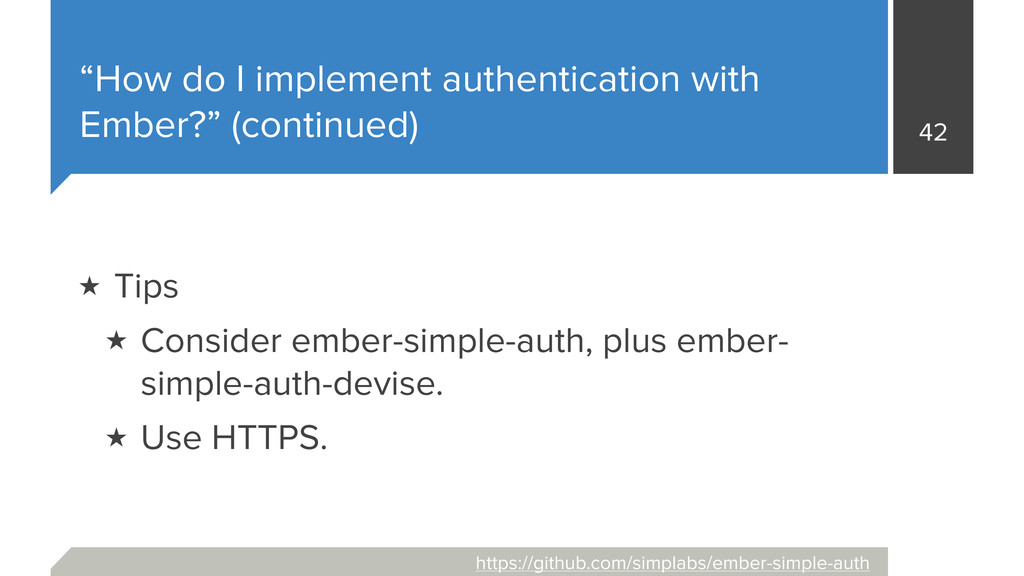 """How do I implement authentication with Ember?""..."