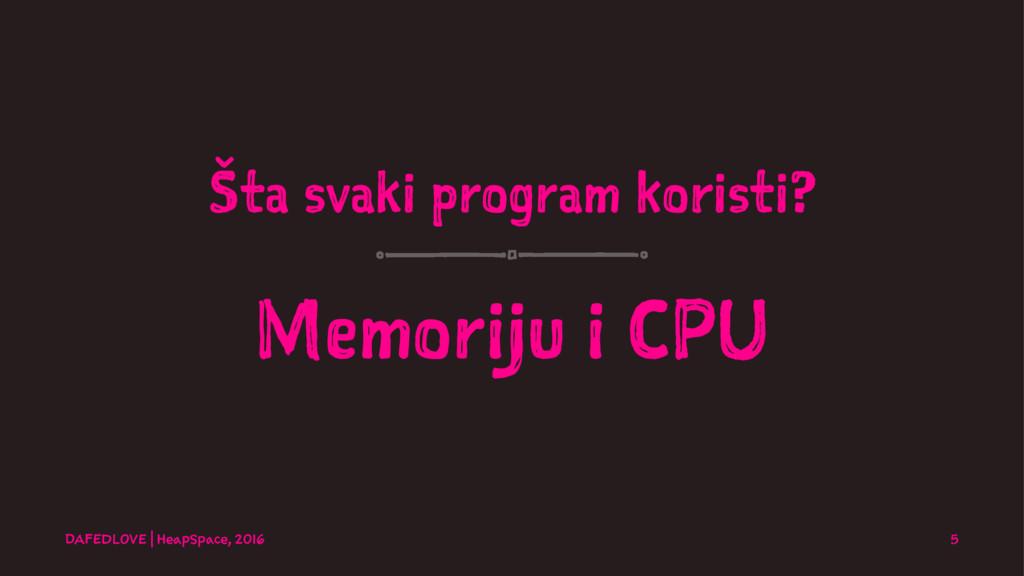 Šta svaki program koristi? Memoriju i CPU DAFED...