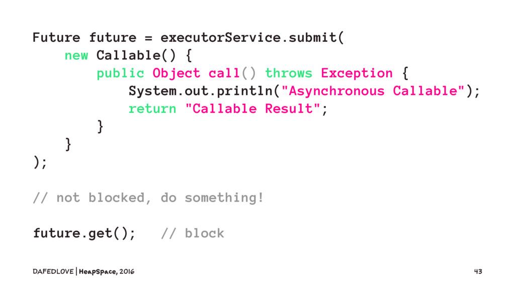 Future future = executorService.submit( new Cal...