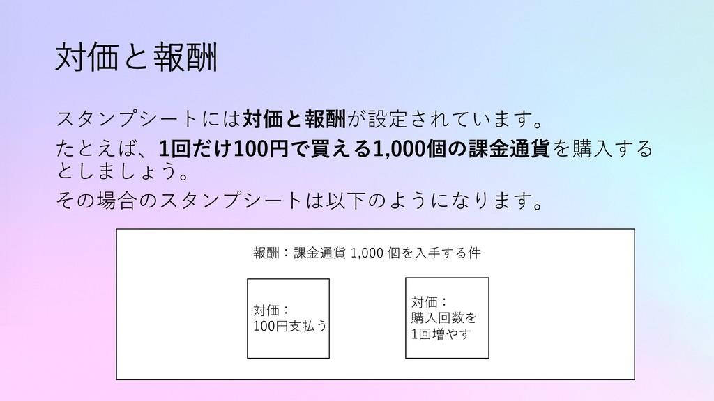 対価と報酬 スタンプシートには対価と報酬が設定されています。 たとえば、1回だけ100円で買え...