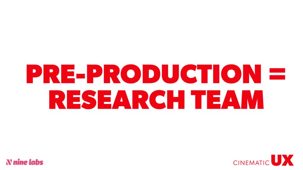 @sbradweaver PRE-PRODUCTION = RESEARCH TEAM UX ...
