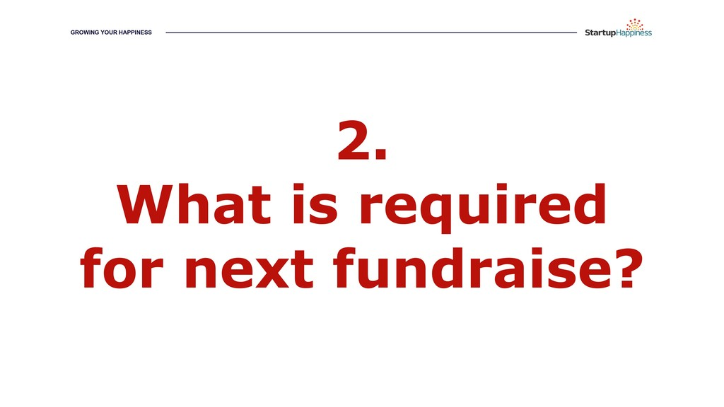 2. What is required for next fundraise? GROWING...