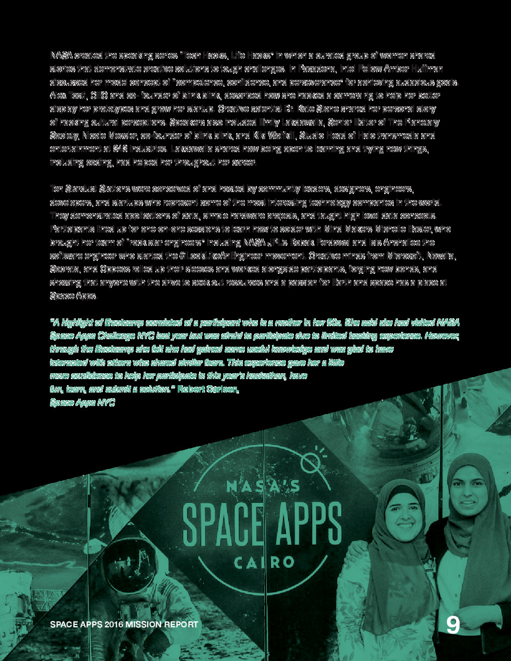 SPACE APPS 2016 MISSION REPORT 9 NASA created t...