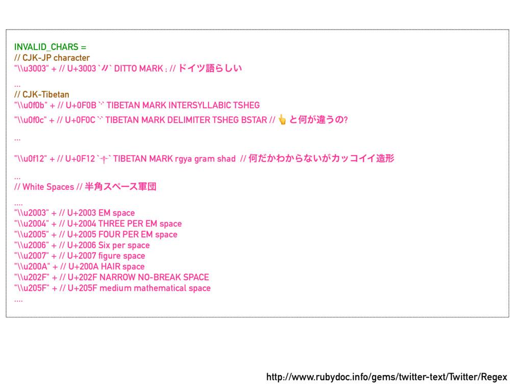 "INVALID_CHARS = // CJK-JP character ""\\u3003"" +..."