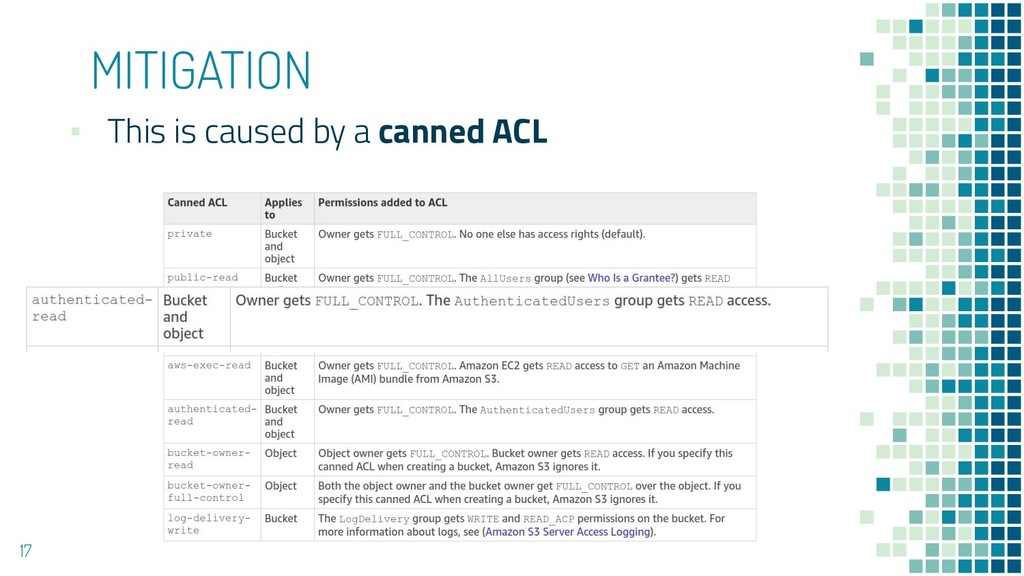 MITIGATION ▪ This is caused by a canned ACL 17