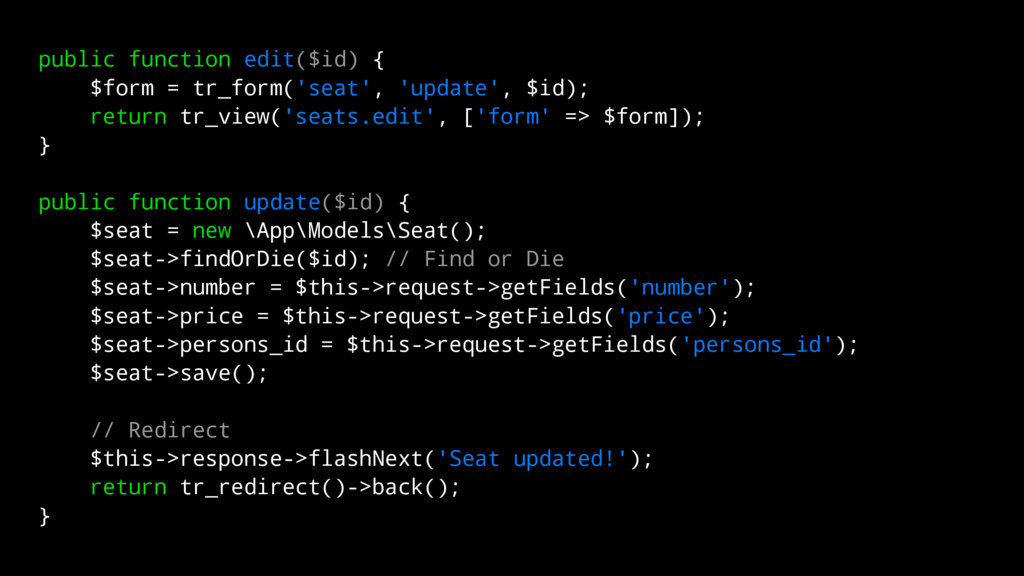 public function edit($id) { $form = tr_form('se...