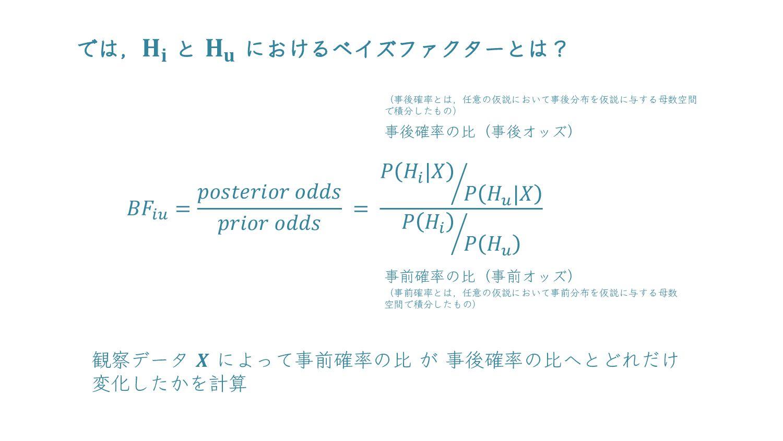 では,𝐻𝑖 と 𝐻𝑢 におけるベイズファクターとは? 𝑩𝑭𝒊𝒖 = 𝐩𝐨𝐬𝐭𝐞𝐫𝐢𝐨𝐫 𝐨𝐝𝐝...