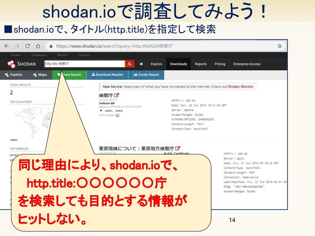 同じ理由により、shodan.ioで、  http.title:〇〇〇〇〇〇庁 を検索して...