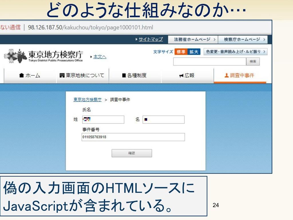 どのような仕組みなのか… 24 偽の入力画面のHTMLソースに JavaScriptが含まれ...