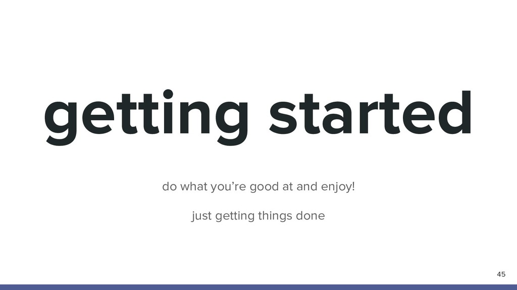 getting started 45 do what you're good at and e...