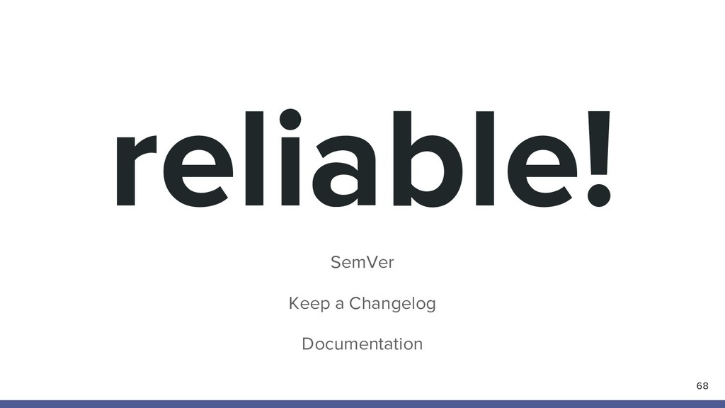 reliable! SemVer Keep a Changelog Documentation...