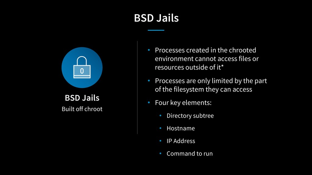 Built off chroot BSD Jails • Processes created ...