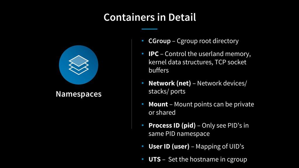 Namespaces • CGroup – Cgroup root directory • I...