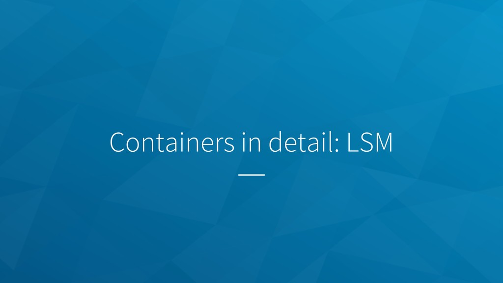 Containers in detail: LSM