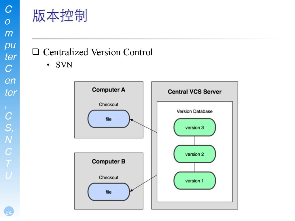 C o m pu ter C en ter , C S, N C T U 24 版本控制 ❑ ...