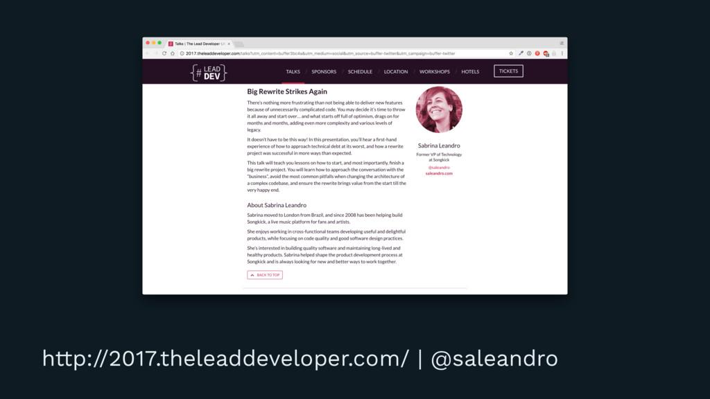 http://2017.theleaddeveloper.com/ | @saleandro