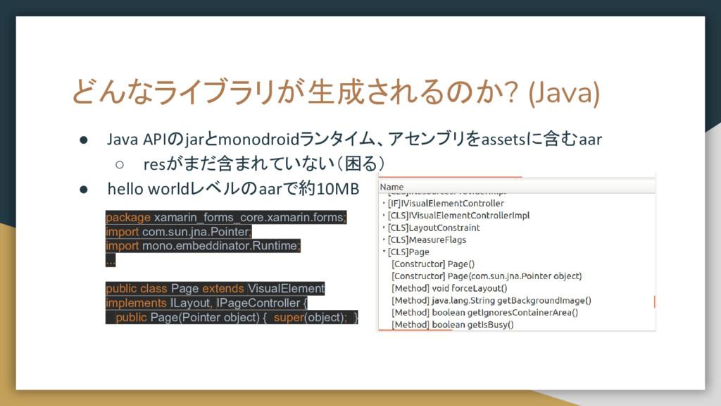どんなライブラリが生成されるのか? (Java) ● Java APIのjarとmonodro...