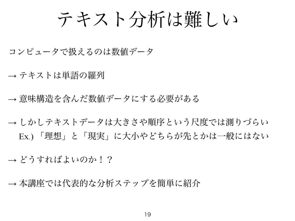 ςΩετੳ͍͠  ίϯϐϡʔλͰѻ͑Δͷσʔλ  → ςΩετ୯ޠͷཏྻ...