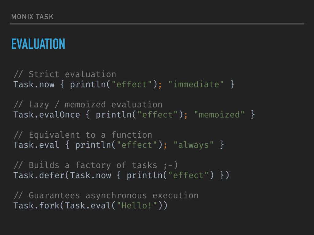 MONIX TASK EVALUATION !// Strict evaluation Tas...
