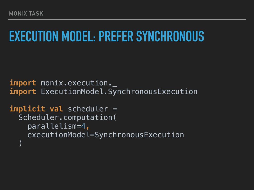 MONIX TASK EXECUTION MODEL: PREFER SYNCHRONOUS ...
