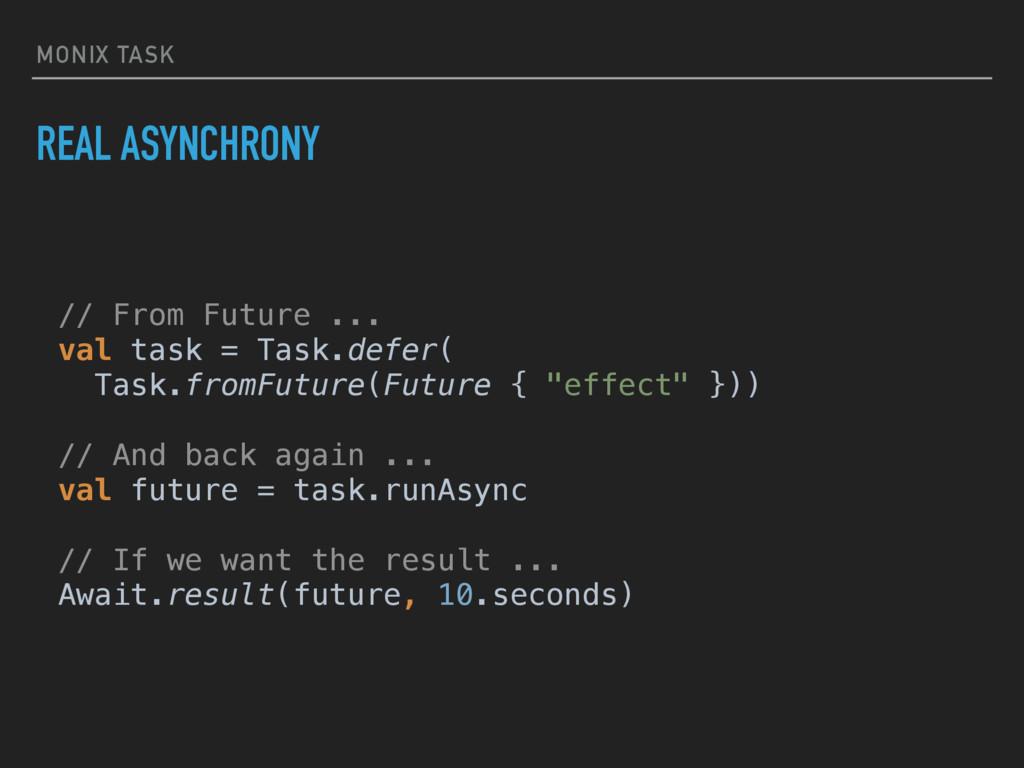 MONIX TASK REAL ASYNCHRONY // From Future ... ...