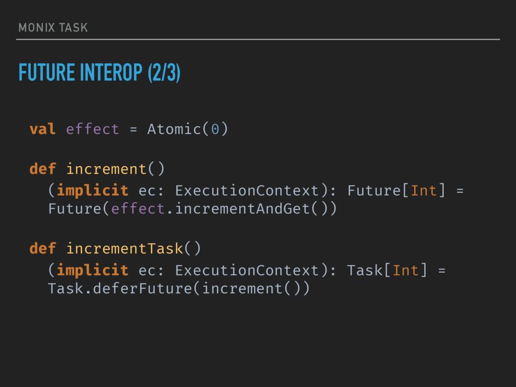MONIX TASK FUTURE INTEROP (2/3) val effect = At...