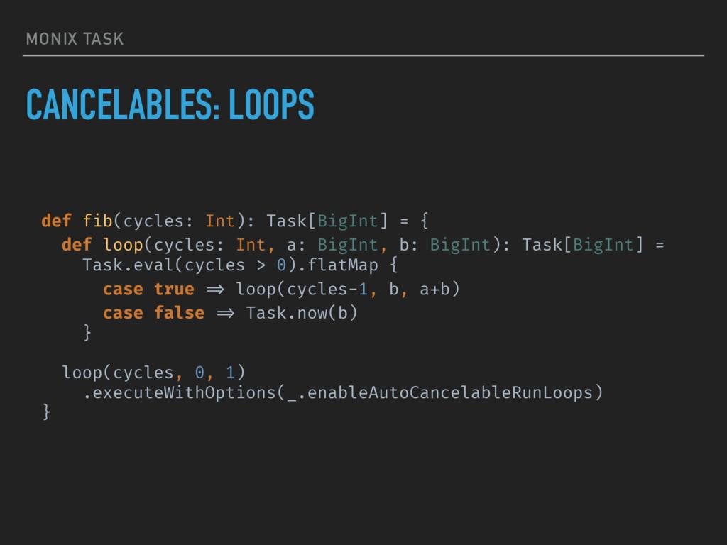 MONIX TASK CANCELABLES: LOOPS def fib(cycles: I...