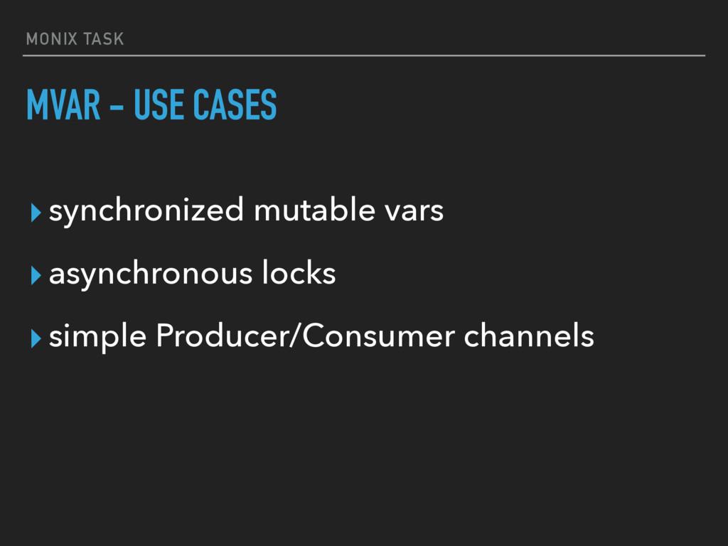 MONIX TASK MVAR - USE CASES ▸synchronized mutab...