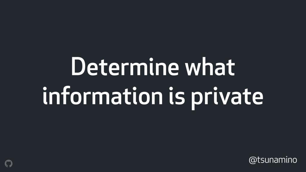 Determine what information is private @tsunamino