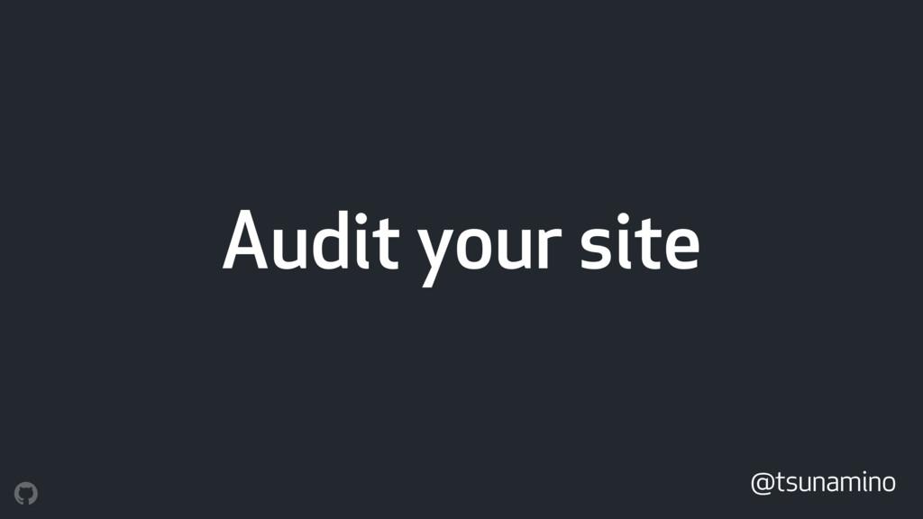 Audit your site @tsunamino