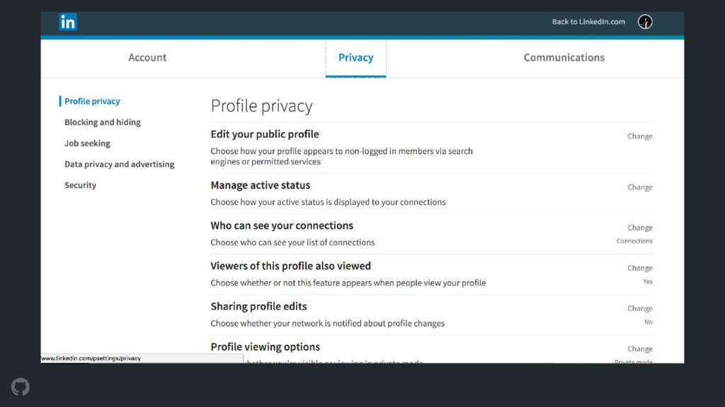 LinkedIn Privacy settings are