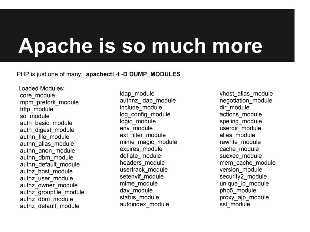 Apache is so much more Loaded Modules: core_mod...