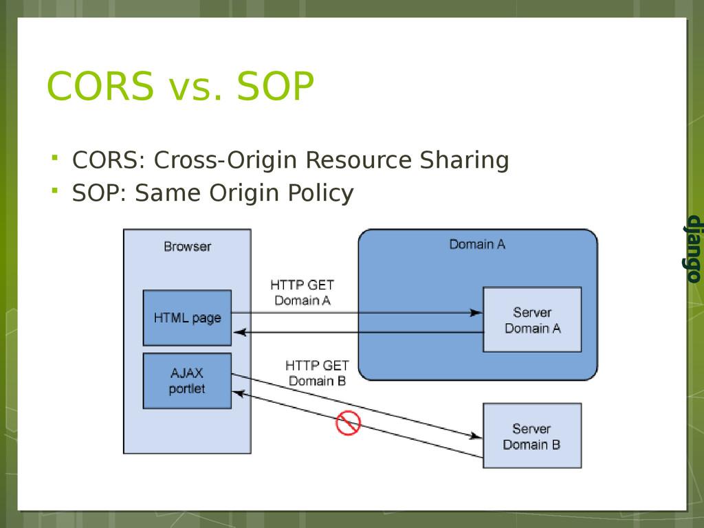 CORS vs. SOP  CORS: Cross-Origin Resource Shar...