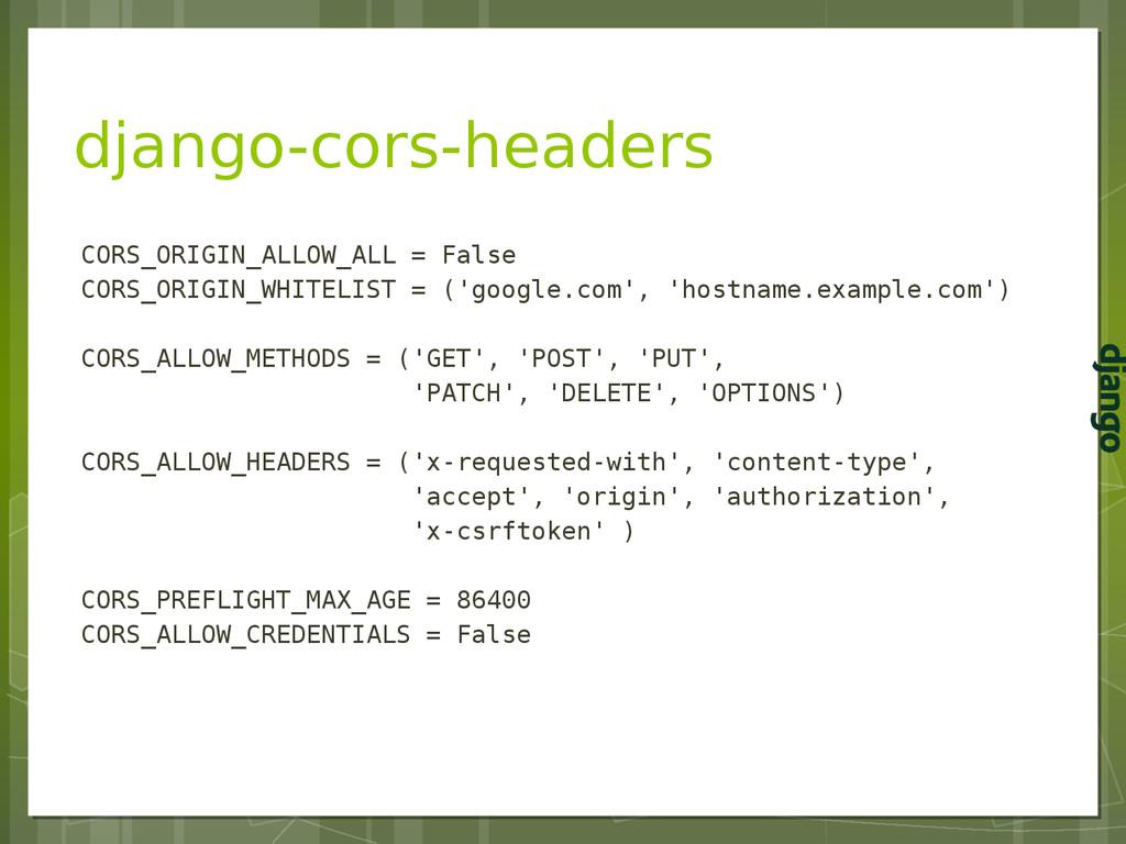 django-cors-headers CORS_ORIGIN_ALLOW_ALL = Fal...