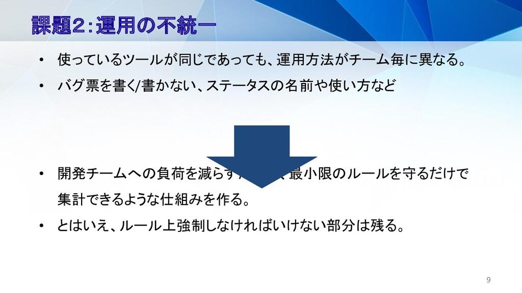 9 課題2:運用の不統一 • 使っているツールが同じであっても、運用方法がチーム毎に異なる。 ...
