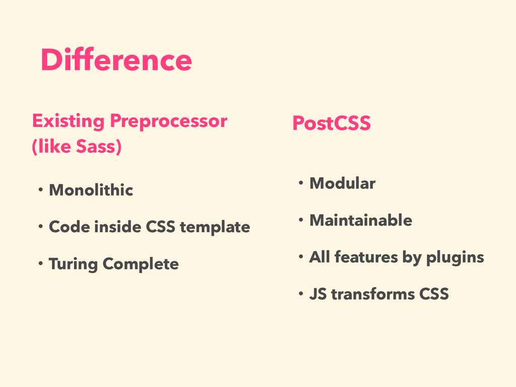 Difference Existing Preprocessor (like Sass) Po...