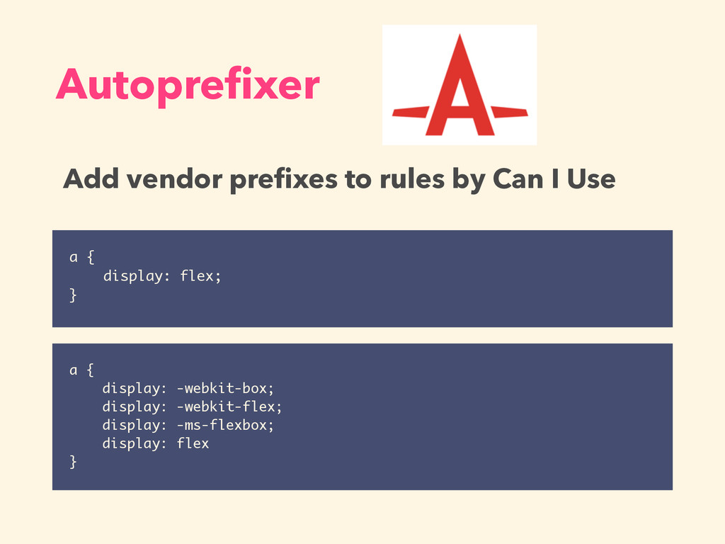 a { display: flex; } Autoprefixer a { display: -...