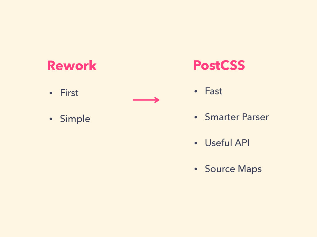 Rework PostCSS • First • Simple • Fast • Smarte...