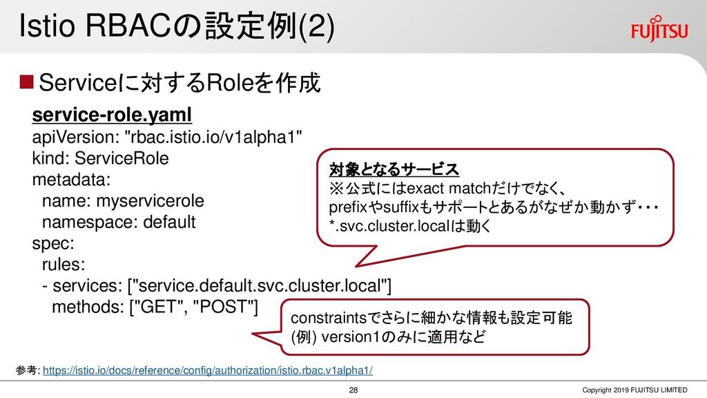 Istio RBACの設定例(2) ◼Serviceに対するRoleを作成 Copyright...