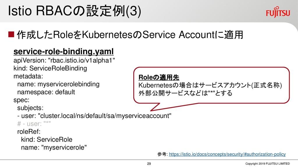 Istio RBACの設定例(3) ◼作成したRoleをKubernetesのService ...