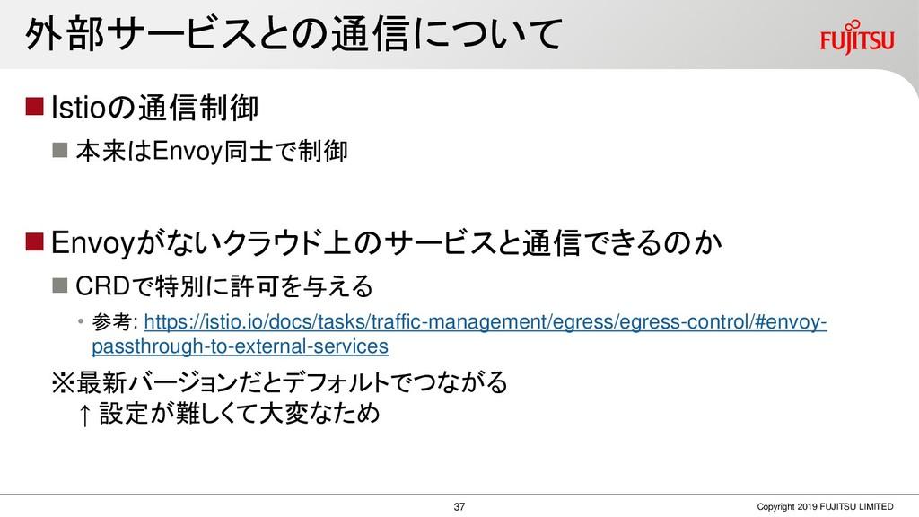 外部サービスとの通信について ◼Istioの通信制御 ◼ 本来はEnvoy同士で制御 ◼Env...