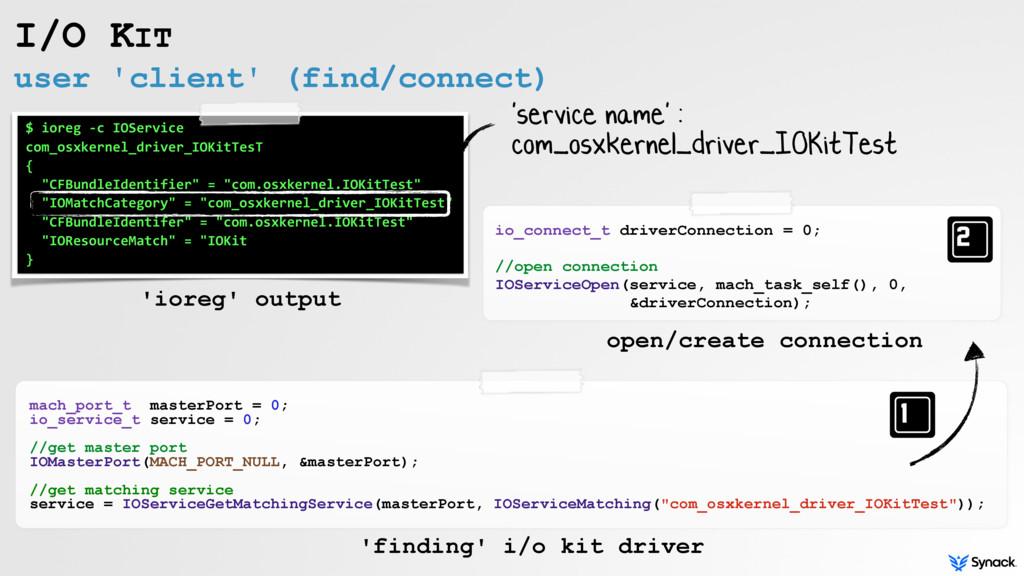 user 'client' (find/connect) I/O KIT mach_port_...