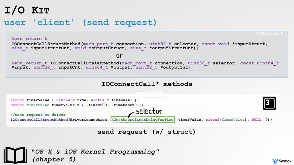 user 'client' (send request) I/O KIT kern_retur...