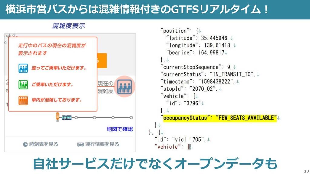 23 横浜市営バスからは混雑情報付きのGTFSリアルタイム! 自社サービスだけでなくオープンデ...