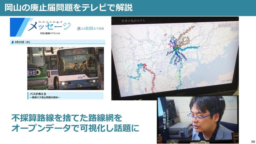 30 岡山の廃止届問題をテレビで解説 不採算路線を捨てた路線網を オープンデータで可視化し話題に